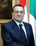 Muhammad Hosni Sayyid Mubarak (born May 4, 1928), President of Egypt, 1981 to 2011. Mubarak was appointed Vice President of Egypt in 1975, and assumed the presidency on October 14, 1981, following the assassination of President Anwar El Sadat. The length of his presidency made him Egypt's longest-serving ruler since Muhammad Ali Pasha. Before he entered politics, Mubarak was a career officer in the Egyptian Air Force, serving as its commander from 1972 to 1975.<br/><br/>  Beginning with the 2011 Egyptian protests on January 25, 2011, protesters called for his resignation as president of Egypt. On February 1, 2011, Mubarak announced that he would not seek another term in the 2011 Egyptian presidential election. On February 5, 2011, Egyptian state media reported that senior members of the ruling National Democratic Party, including Mubarak, had resigned from leadership roles within the party.<br/><br/>  On February 11, 2011, Vice President Omar Suleiman announced that Mubarak had resigned as President of Egypt, transferring authority to the Higher Council of the Armed Forces, following 18 days of protests challenging his thirty-year rule. Public domain image by Presidenza della Repubblica, 2009.